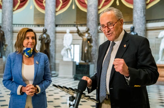 Senate Minority Leader Chuck Schumer, D-N.Y., and House Speaker Nancy Pelosi, D-Calif., have been meeting at the Capitol with White House chief of staff Mark Meadows and Treasury Secretary Steven Mnuchin.