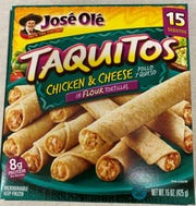 Several brands of taquitos and chimicangas are included in a health alert because they may contain plastic.