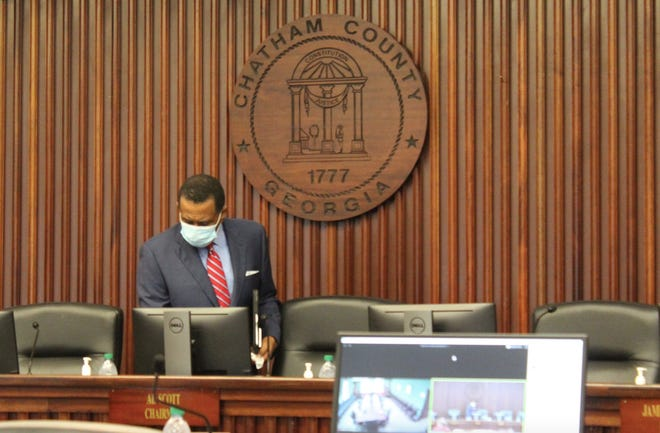 Chatham County Commission chairman Al Scott wears a face mask when arriving for a May 22 meeting.
