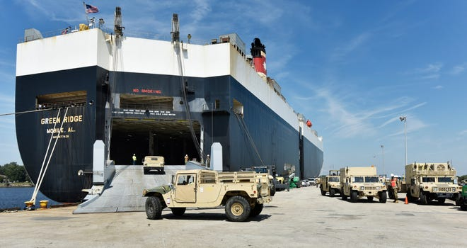 Vehicles are loaded aboard a ship at Blount Island Marine Terminal in 2019. JaxPort has been placed under Port Condition Yankee due to the approach of Tropical Storm Isaias. [Will Dickey/Florida Times-Union]