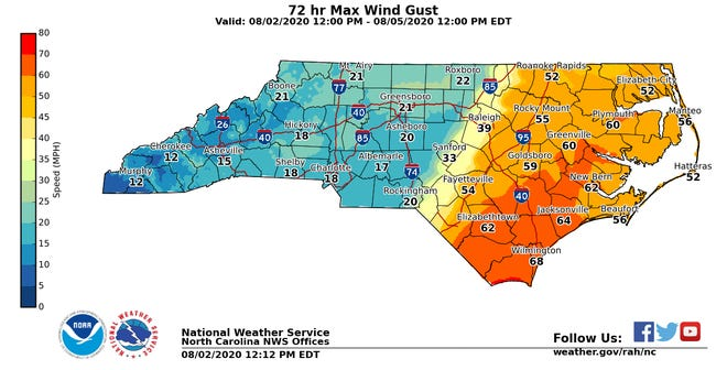 Wind gusts topping 50 mph are possible in Fayetteville, with higher gusts in the eastern region.