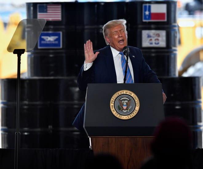 President Donald Trump on July 29 at an appearance near Midland.