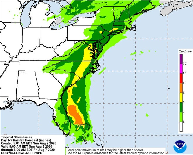 Rainfall forecast for southeastern United States.