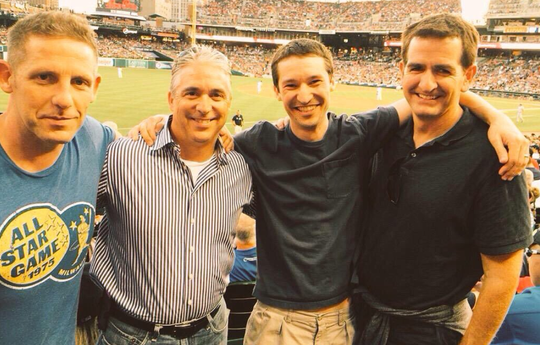WDFN The Fan reunion: Greg Brady, Matt Shepard, Jon Klimczuk and Jamie Samuelsen at Comerica Park in July 2017. It was the last time they were all together before Samuelsen's death Saturday at age 48.