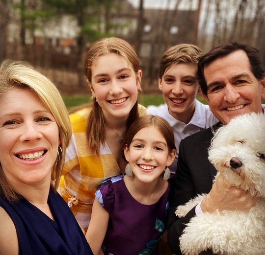 Longtime 97.1 The Ticket host Jamie Samuelsen, right, wife and PBS Detroit anchor Christy McDonald, right, and their three children. Samuelsen died on Aug. 1 after a 19-month fight with colon cancer. He was 48.
