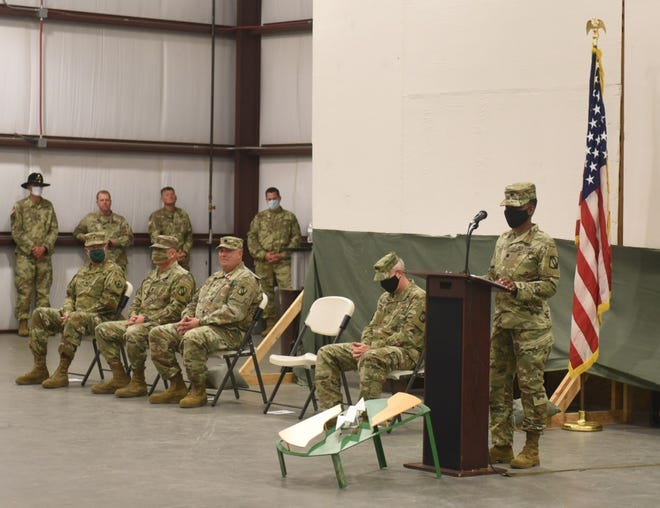 Lt. Col. Annie Lee, incoming commander of the 106th Brigade Support Battalion, shares remarks during a change of command ceremony at Camp Shelby, Mississippi, July 31, 2020. Lee becomes the first ever female battalion commander in the 155th ABCT.