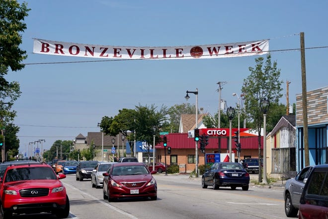 A banner hangs across North Avenue near King Drive as part of Bronzeville Week, celebrating the historically African American Milwaukee neighborhood, which will continue its celebration this year despite the coronavirus.