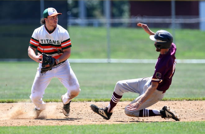 Jefferson Titans second baseman Brodey Neveker tries to complete the double play after getting the force out on  Brock Gladfelter of the Vikings, Sunday, August 2, 2020.John A. Pavoncello photo