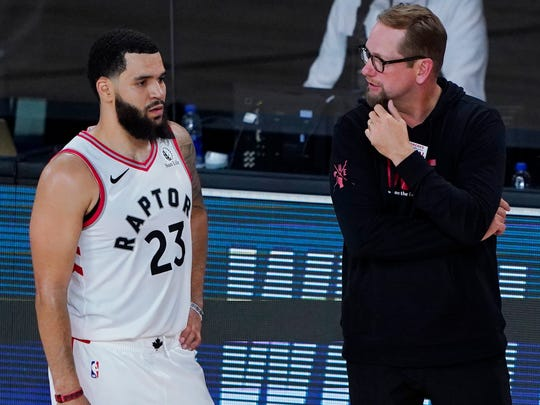 Nick Nurse, Fred VanVleet and the defending-champion Raptors resumed their season Saturday night with a win over the Lakers.