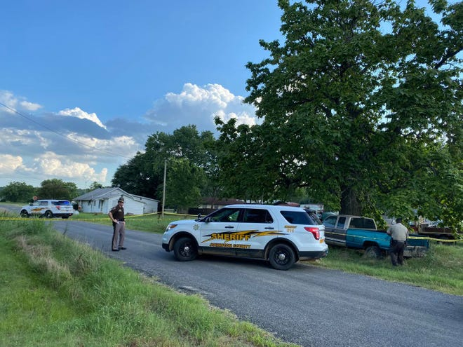 Johnston County Sheriff's Deputies on scene in Wapanucka on Aug. 1 working a stabbing incident. One suspect was taken into custody and the victim is being treated for a stabbing wound to her throat.