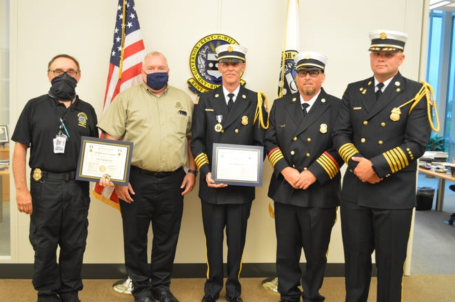 From left: Chief Colin Faulkner, Kent County Department of Public Safety, Kevin Sipple, assistant director of Emergency Communications Division, and South Bowers Beach Volunteer Fire Company Assistant Chief Michael Hignutt, President Joseph Yonker and Chief Robbie Johnson.