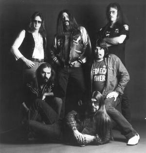 The classic Molly Hatchet lineup included guitarist Dave Hlubek (front),  drummer Bruce Crump, guitarists Duane Roland and Steve Holland, bass player Banner Thomas and singer Danny Joe Brown.(Epic Records)