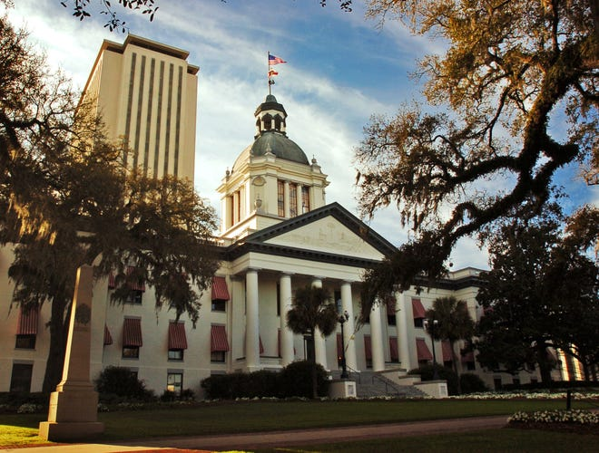 The old and new Florida State Capitol Buildings in Tallahassee.