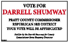Vote for Darrell Shumway, Pratt County Commission