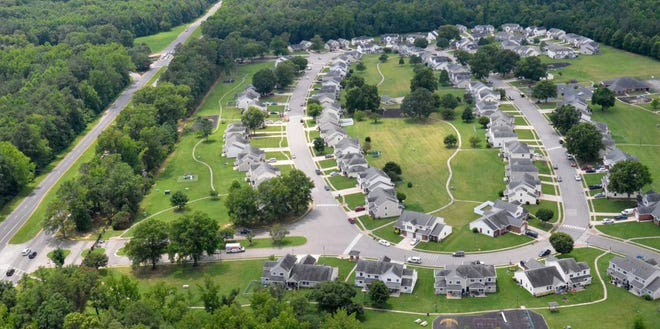 This aerial photo taken in 2016 shows Jackson Circle, where the first phase of the $50 million upgrade will take place. About 30 homes will be revamped over the next two years at a cost of about $15.6 million.