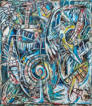 """Carlos Alfonzo's 1988 painting """"Gulfstream"""" is featured in The Ringling exhibit """"Remaking the World,"""" an exploration of abstract art through pieces in the museum's own collection"""