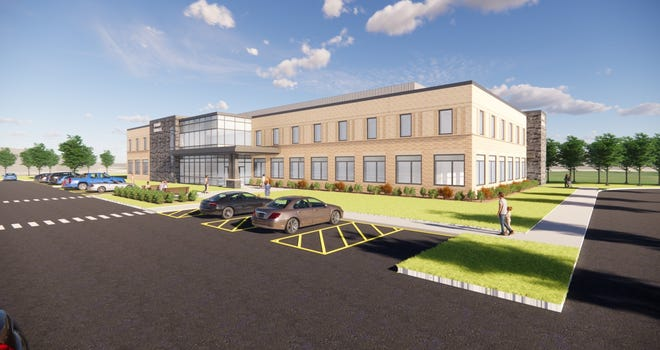 An architectural drawing shows the proposed $20 million medical office building in Appleton's Northeast Business Park.