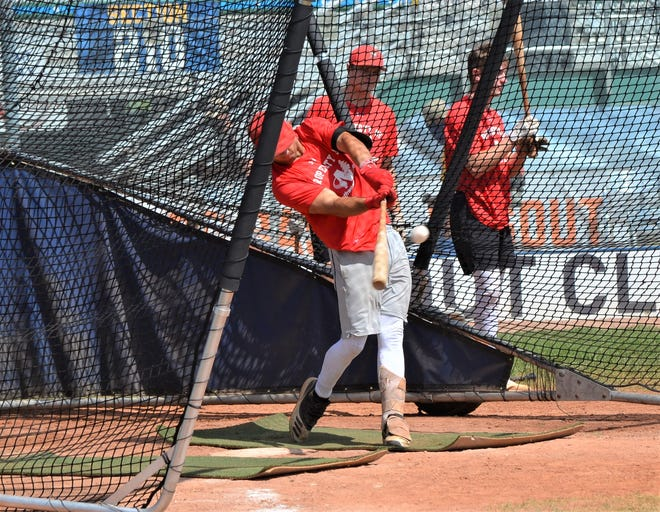 Battle Creek Bombers outfielder Joseph Mason takes batting practice at Homer Stryker Field before a game with the Kalamazoo Growlers.