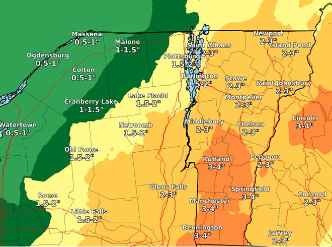 Heavy rainfall is predicted for much of Vermont on Tuesday and Wednesday, as illustrated in this map created by the National Weather Service on Monday, Aug. 3, 2020. The rain is associated with the remnants of Tropical Storm Isaias.