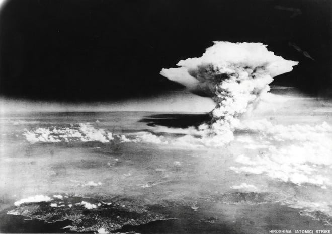 A cloud from the atomic bomb strike on Hiroshima, Japan, Aug. 6, 1945.