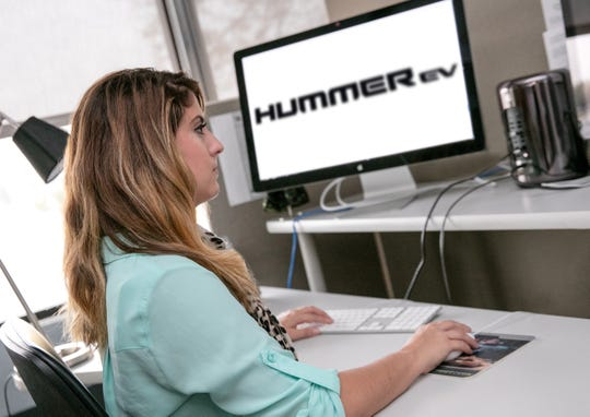 Bianca Iacopelli, working with the logo for the all-new GMC Hummer EV. She's a creative designer at GM.