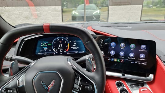 The 2020 Chevy Corvette has its own digital instrument panel — but the infotainment screen will be familiar to other GM products from Chevy and Buick.
