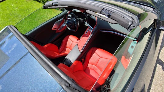 """The interior of the 2020 Chevy Corvette includes a center spine with climate controls, a """"trigger shifter"""" and ample room for big folks."""