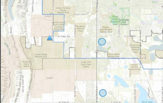 A search for alternative sites for Larimer County's Behavioral Health Facility found two locations, which are marked by blue circles. The blue triangle is the current proposed location.