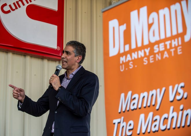 Manny Sethi, candidate for the Republican nomination for U.S. Senate, speaks during a campaign event in Jackson, Tenn., on Aug. 3, 2020.