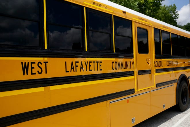 School buses sit parked in the West Lafayette Community School Corp. lot, Monday, Aug. 3, 2020 in West Lafayette.