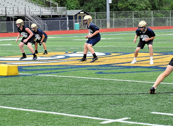 Lancaster linebackers put in work during the Golden Gales' first official day of practice Saturday at Fulton Field.