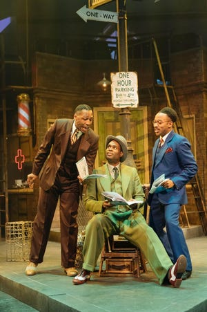 "Mansfield native Javar La'trail Parker (l) starred in a UK production of ""Guys and Dolls"" with Ako Mitchell (c) and Fela Lufadeju (r). It was the first all-Black version of the play in UK history."