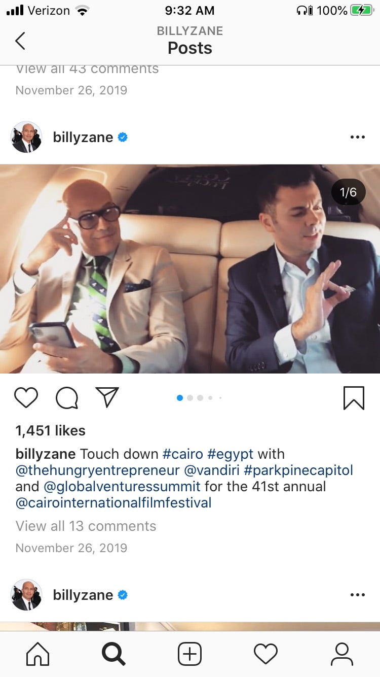 In this now-deleted Instagram screenshot, Billy Zane posted photos with Ahmed Shabana when he traveled to Greece and Egypt last year to promote the business and accept an award at the the Cairo International Film Festival.