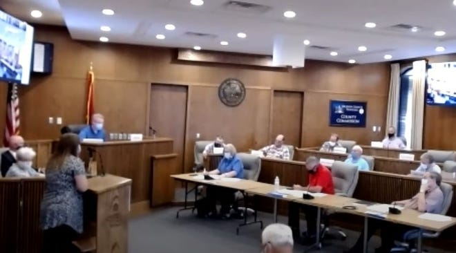 Screenshot of Dickson County Budget Committee meeting, July 27.