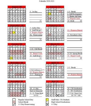 Dickson County Schools 2020-2021 calendar