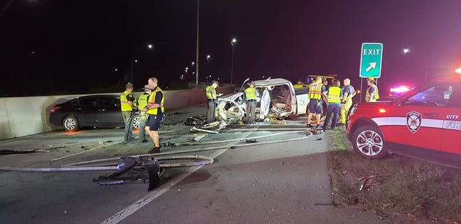 Two people were flown to Grant Medical Center following a crash on Ohio 16 on Saturday, Aug. 1, 2020.