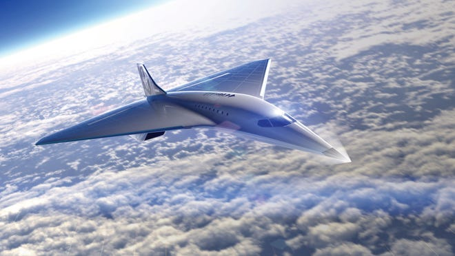 Illustration of a design concept for Virgin Galactic's Mach 3 aircraft, which it hopes will travel at altitudes higher than 60,000 feet, cruising at three times the speed of sound with as many as 19 passengers.