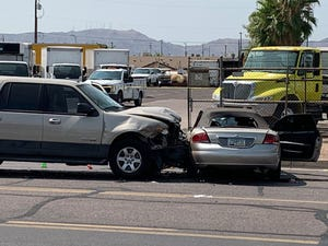An unmarked Phoenix police vehicle crashed into a sedan on Aug. 3, 2020.