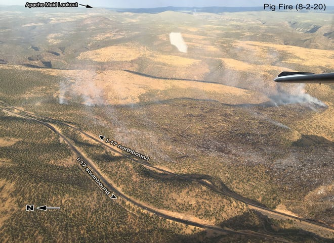 The Pig Fire, which is burning south of Sedona, has burned nearly 500 acres in the Coconino National Forest as of Monday, Aug. 3, 2020.