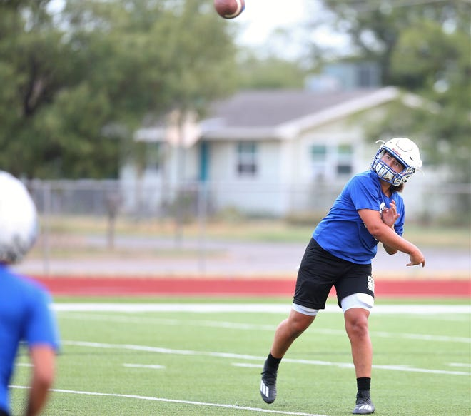 San Angelo Lake View High School quarterback Albert Rodriguez fires a pass during the first day of practices at Lake View on Monday, Aug. 3, 2020.