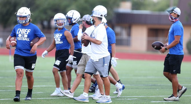 The San Angelo Lake View High School football team opened practices at Lake View on Monday, Aug. 3, 2020.