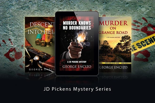 "Covers of George Encizo's three JD Pickens mysteries, including ""Murder Knows No Bounds."""