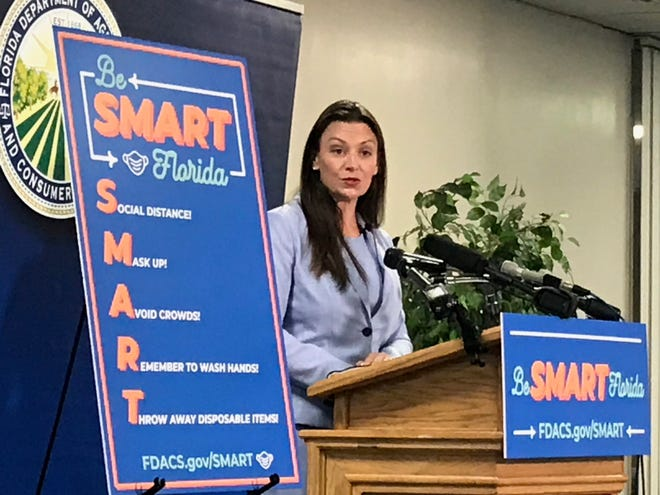 lorida Agriculture Commissioner Nikki Fried, seen here at a press conference, Aug. 3, 2020, will be the keynote speaker for Thunderdome Tallahassee.