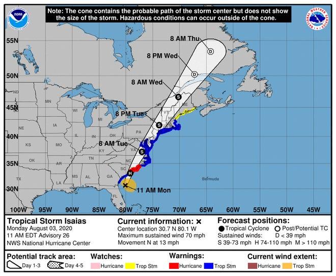 Tropical Storm Isaias 11 a.m. Aug. 3, 2020