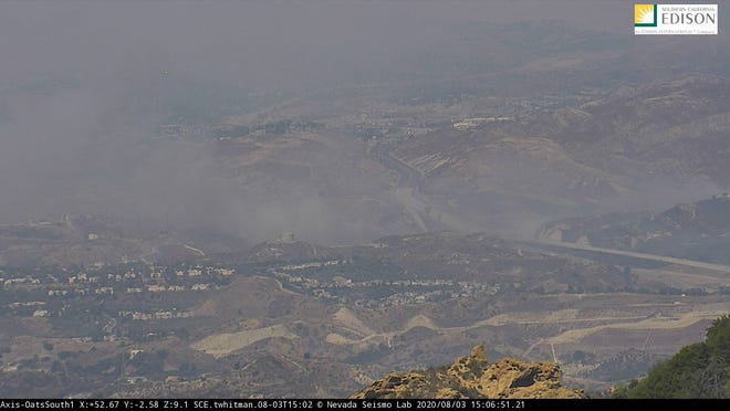 Smoke from the Elsmere Fire outside Santa Clarita was visible Monday afternoon in a Southern California Edison web camera. The incident impacted Highway 14 and slowed traffic east of Ventura County.