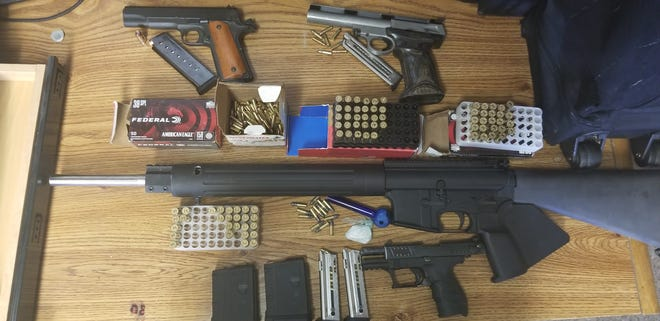 During a gang suppression operation, Tulare County deputies arrested three people, seized stolen firearms and drugs.