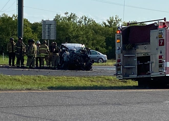 Wichita Falls Police and Fire Department personnel responded to a pin-in accident shortly before 6 p.m. Monday on U.S. 287, east of City View and west of Wellington Lane.