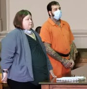 Attorney Amy Otto with Justin L. Moore in Muskingum County Common Pleas Court. Moore changed his pleas to guilty in two separate cases for charges of burglary, theft, possession of drugs and possession of drug paraphernalia.