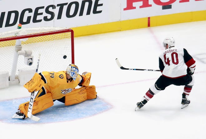 Aug. 2: Michael Grabner of the Arizona Coyotes scores a short-handed goal during Game 1 against the Nashville Predators.
