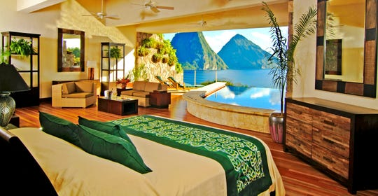 Sanctuaries at Jade Mountain in Saint Lucia offer dramatic views of the Piton Peaks.